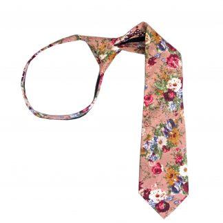 """14"""" Boy's Zipper Mauve Floral Tie 8243-0"""