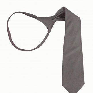 "14"" Boys Charcoal Solid Zipper Tie 5931-0"