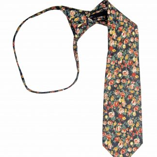 "11"" Boys Red Floral Zipper Tie 8034-0"