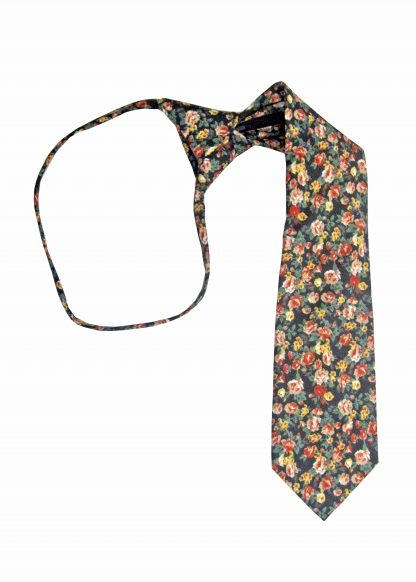 "14"" Boys Red Floral Zipper Tie 3227-0"