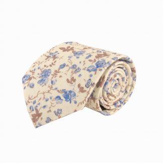 """63"""" XL Creme, Blue Floral Cotton Men's Tie 8240-0"""