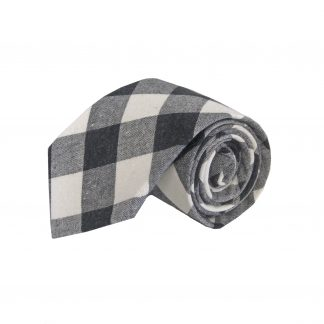 Black, Gray Large Block Cotton Men's Tie 6140-0