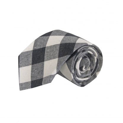 Black, Gray Large Block Cotton Men's Tie 6140-0