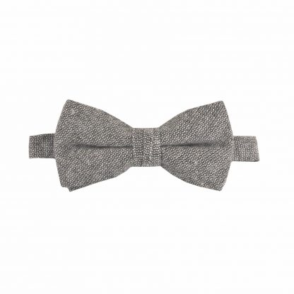 Black, Gray Text Cotton Banded Bow Tie 7122-0
