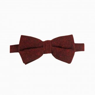 Burgundy, Black Text Cotton Banded Bow Tie 7125-0