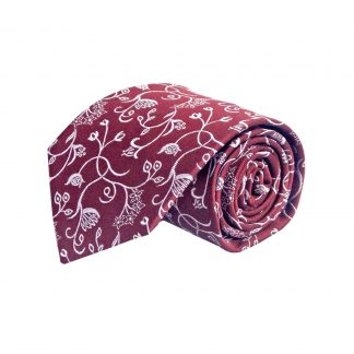 Burgundy, Gray Floral Men's Tie 3727-0