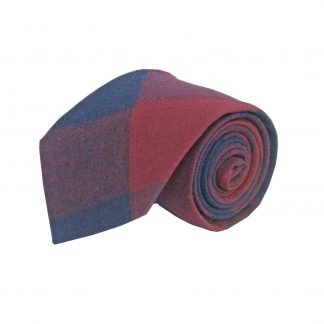 Burgundy, Navy Plaid Cotton Men's Tie 8785-0