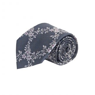 Charcoal, Silver Floral Vine Men's Tie 10597-0