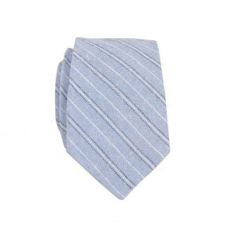 French Blue, White Pinstripe Skinny Men's Tie 4011-0