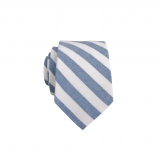 French Blue, White Stripe Skinny Men's Tie 5517-0