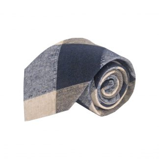 Navy, Tan Plaid Cotton Men's Tie 4274-0