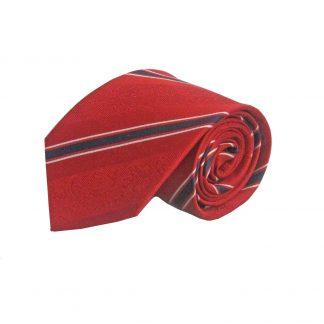 Red, Black Floral Stripe Silk Men's Tie 6751-0