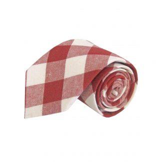 Red, Cream Large Block Cotton Men's Tie 7832-0