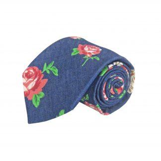 Rose, Cream, Denim Floral Men's Tie 3107-0