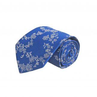 Royal Blue, White Floral Men's Tie 10575-0