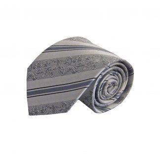 Silver, Gray Floral Stripe Silk Men's Tie 1974-0
