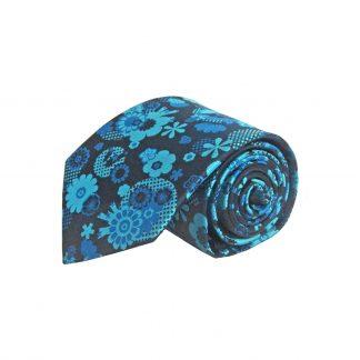 Teal, Blue, Black Floral Men's Tie 9377-0