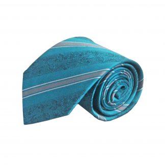 Teal, Gray Floral Stripe Silk Men's Tie 1975-0