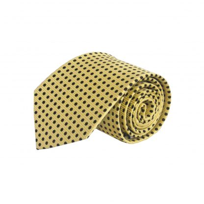Yellow, Black Dots Silk Men's Tie 6750-0