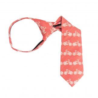 """11"""" Boy's Zipper Salmon, Cream Bicycle Tie 8342-0"""