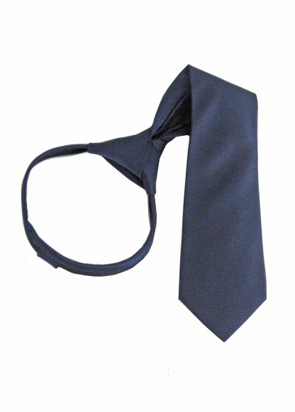 "14"" Boy's Zipper Navy Tone on Tone Stripe Tie 11441-0"