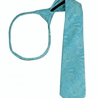 """17"""" Boy's Turquoise Paisley Zipper Tie 9371-0"""