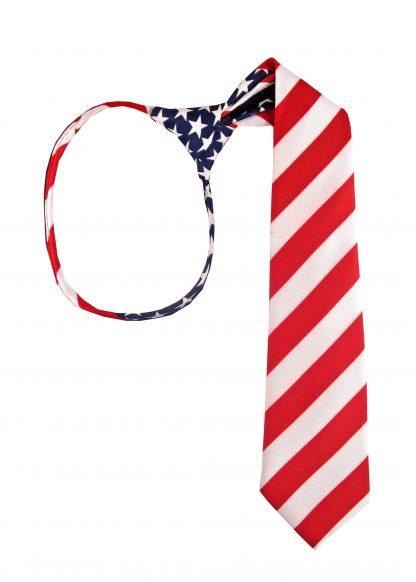 "17"" Boy's USA Flag Zipper Tie 8484-0"