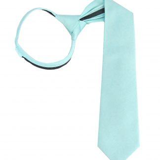 """17"""" Boy's Zipper Aqua Solid Tone on Tone Tie 2739-0"""