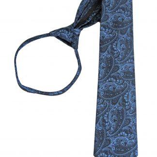 """21"""" Navy, Blue Paisley Men's Zipper Tie 11469-0"""
