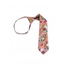 """11"""" Boy's Zipper Mauve Floral Cotton Tie 8244-0"""