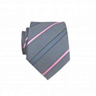 Gray, Pink Stripe Skinny Men's Tie 9133-0