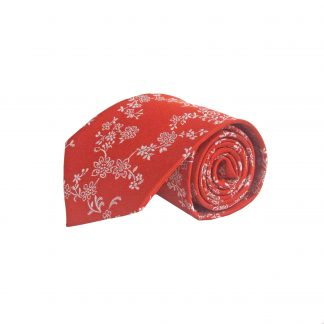 Red, Gray Floral Men's Tie 10578-0