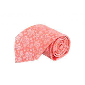 Salmon Tone on Tone Floral Men's Tie W/ Pocket Square 7989-0