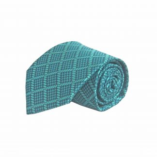 Teal Square Pattern Men's Tie 6490-0
