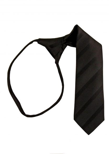 "11"" Boy's Black Tone on Tone Stripe Zipper Tie 11399-0"