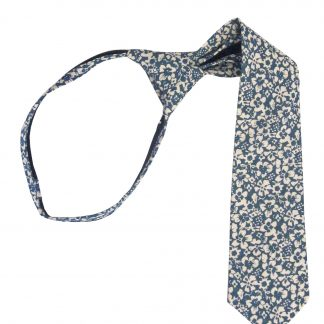 "11"" Boy's French Blue Floral Zipper Tie 4706-0"