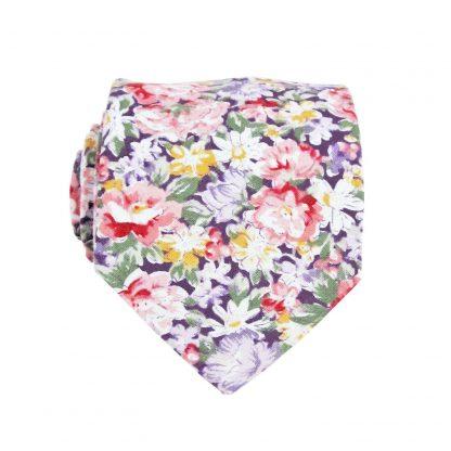 "49"" Boy's Self Tie Purple, Pink Floral Tie 4698-0"