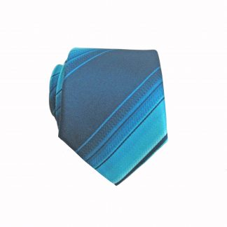 "49"" Boy's Self Tie Teal, Navy Faded Stripe Tie 197-0"