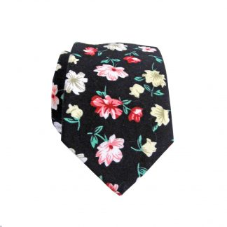 Black, Green, Pink Floral Cotton Skinny Men's Tie 3335-0