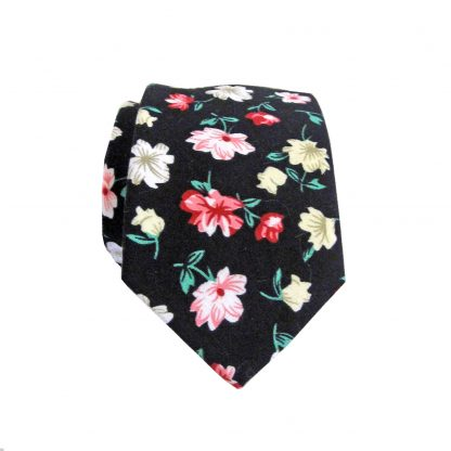 Black, Green, Pink Floral Cotton Skinny Men's Tie 3335-0