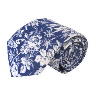 Blue, White Floral Men's Tie 4381-0