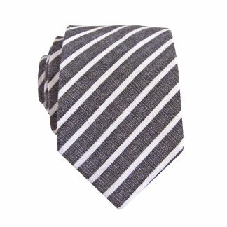 Charcoal, White Stripe Skinny Men's Tie 4291-0