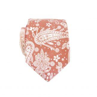 Copper, Cream Paisley Cotton Skinny Men's Tie 5426-0