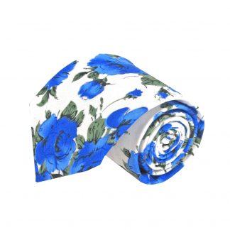 Cream, Blue Floral Men's Tie 8355-0