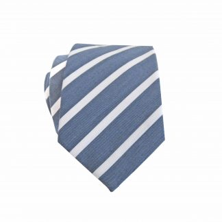 Denim Blue, White Stripe Cotton Skinny Men's Tie 10441-0