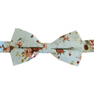 Light Blue, Burgundy Floral Cotton Banded Bow Tie 4577-0