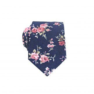 Navy, Mauve Floral Cotton Skinny Men's Tie 192-0
