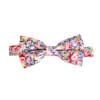 Purple, Pink Floral Banded Bow Tie 3716-0