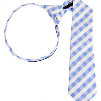 "14"" Boy's Blue, White Criss Cross Zipper Tie 1739-0"