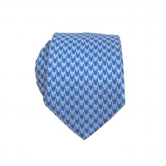 Blue, French Blue Small Herringbone Pattern Skinny Men's Tie 6640-0